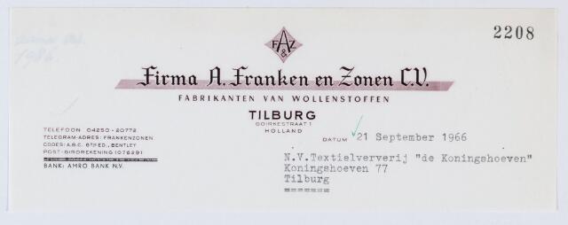 """060103 - Briefhoofd. Nota van Firma A. Franken & Zonen C.V., fabrikanten van Wollenstoffen, Goirkestraat 1  voor Textielververij """" de Koningshoeven""""  Koningshoeven 77"""