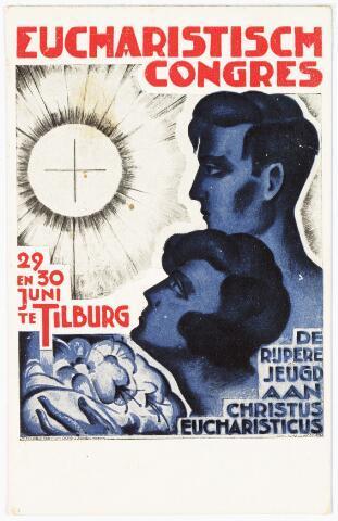 """008960 - Affiche van het Eucharistisch Congres te Tilburg op 29 en 30 juni te Tilburg """"De rijpere jeugd aan Christus Eucharisticus""""  (ontwerper: W.A.M.J. van Woerkom)"""