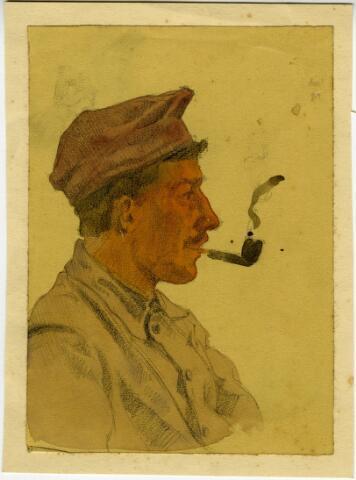 604095 - Tekening van Johannes Elsinga (1893-1969); Portret van een onbekende gemobiliseerde soldaat, getekend in de omgeving van Moergestel tijdens de mobilisatie van de Eerste Wereldoorlog. De Friese kunstenaar Johan Elsinga (1893-1969) was tijdens deze mobilisatie zelf als gemobiliseerd soldaat gelegerd in Moergestel. Moergestel en omgeving werden tussen 1914 en 1916 vastgelegd in potlood en aquarel.