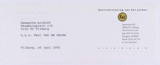 060950 - Briefhoofd. Briefhoofd van Dansvoorziening van het Zuiden, RAZ., Spoorlaan 181