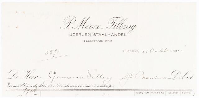 060720 - Briefhoofd. Nota van P. Mercx, ijzer- en staalhandel en ijzerwaren, voor de gemeente Tilburg afd brandweer
