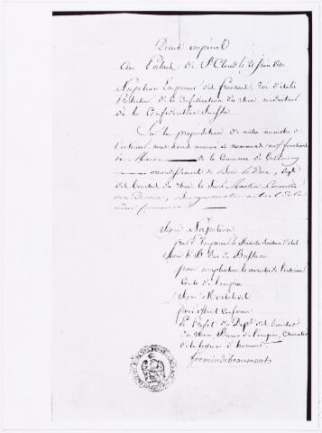 008217 - Martinus van Dooren, 21-6-1810 Martinus van Dooren tot burgemeester.