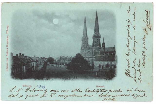 000866 - Heuvel met kerk St. Jozef, pomp, pastorie en lindeboom.