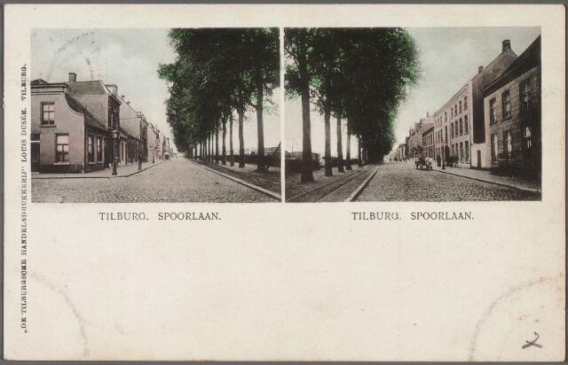 010756 - Combinatiekaart van de Spoorlaan, links het hoekhuis aan de Willem II-straat. Rechts richting Heuvel.