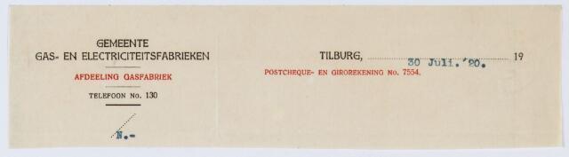 060125 - Briefhoofd. Briefhoofd van Gemeente Gas- en Electriciteitsfabrieken te Tilburg