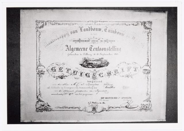 039549 - M.C.N. Bressers Kaarsenfabriek. Provinciale Tentoonstelling Handboog-Nijverheid geeft diploma met eerste prijs voor ingezonden schoonste producten van Bijenteelt door gebrs. Bressers te Tilburg (1813).