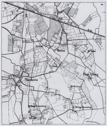 049213 - Kaart. Gilze en het grensgebied met Tilburg; Hulten, Klein Tilburg en de weg van Tilburg naar Breda met herberg Parijs.