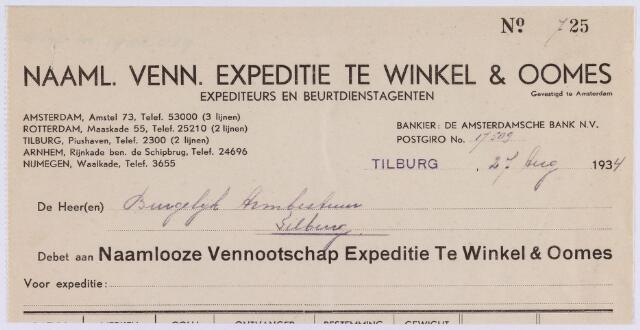 061433 - Briefhoofd. Nota van naamlooze vennootschap Expeditie te Winkel & Oomes, Rijnstraat 1 voor het Burgerlijk Armbestuur van Tilburg