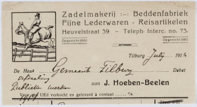 060290 - Briefhoofd. Nota van Zadelmakerij, Beddenfabriek en Stoffeerderij Firma J. Hoeben-Beelen, Heuvelstraat 39 voor de gemeente Tilburg