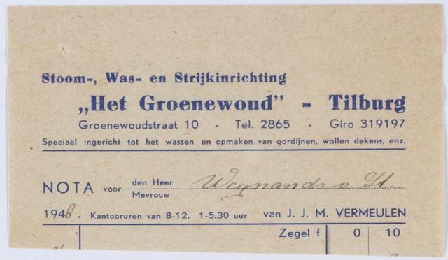 """060204 - Briefhoofd. Nota van Stoom Wasch- en strijkinrichting """"Het Groenewoud"""" A. Knegtel v/h H. Swagemakers-Litz, Broekhoven, voor Wynaendt van Steyn's Fundatie"""