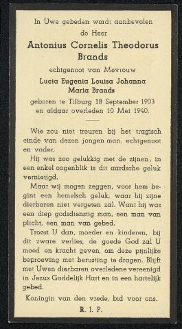 604358 - Tweede Wereldoorlog. Oorlogsslachtoffers. Bidprentje ter nagedachtenis aan Antonius C.Th. Brands, om het leven gekomen bij een bominslag in de Noordstraat.