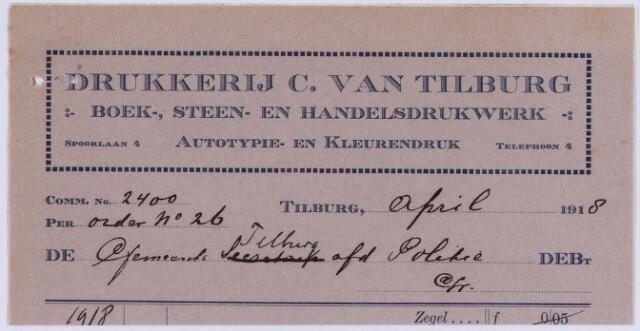 "061223 - Briefhoofd. Nota van ""Drukkerij C. van Tilburg"", boek-, steen- en handelsdrukwerk, Spoorlaan 4 voor gemeente Tilburg"