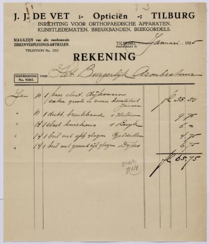061345 - Briefhoofd. Nota van J.J. de Vet, opticien, Poststraat 45 voor het burgerlijk Armbestuur van Tilburg