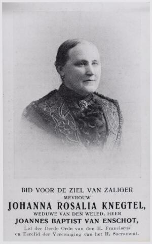 045989 - Bidprentje. Johanna Roselia Knegtel werd geboren te Tilburg op 16 mei 1841. Zij overleed in haar geboortestad op 20 oktober 1914. Zij was toen weduwe van de Goirlese burgemeester Jan Baptist van Enschot.