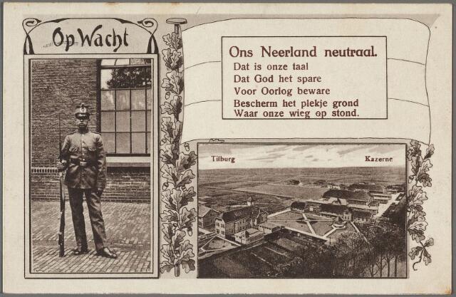 010251 - Kromhoutkazerne  aan de Bredaseweg met een versje dat verwijst naar de neutraliteit van Nederland tijdens de Eerste Wereldoorlog.