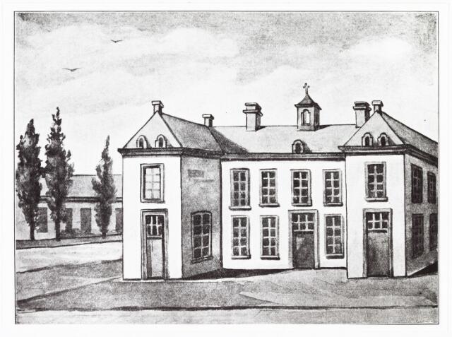 009361 - Tekening. Kloosters. Het huis met de 13 celletje van de Zusters van Liefde aan de Oude Dijk.