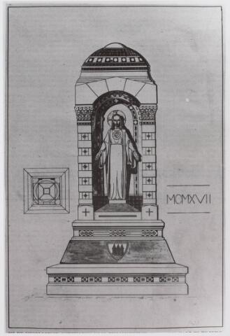 021336 - Bij de voorlopige ontwerpen voor een H. Hartmonument, te plaatsen voor de Heuvelse kerk,  was er ook een van de Tilburgse schilder/beeldhouwer Albert Verschuuren