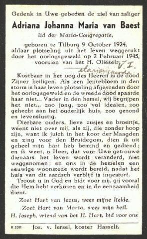 604332 - Tweede Wereldoorlog. Oorlogsslachtoffers. Bidprentje ter nagedachtenis aan Adriana J.M. van Baest, omgekomen bij een explosie van een V-1 op Huize Mariëngaarde op 2.2.1945.