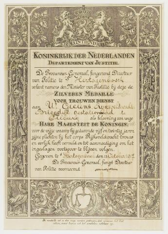 068581 - Politie. Akte waarbij de procureur-generaal namens de Minister van Justitie U. Gielens, rijksveldwachter., brigadier gestaioneerd te Tilburg een zilveren medaille verleent voor zijn vijfenwtintige jarige trouw.