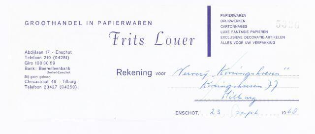"""060600 - Briefhoofd. Nota van Frits Louer, groothandel in papierwaren, Abdijlaan 17 voorVerverij """"Koningshoeven"""" , Koningshoeven 77"""