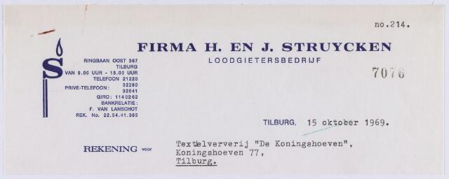 """061193 - Briefhoofd. Nota van Firma H. en J. Struycken, loodgietersbedrijf, Ringbaan-Oost 367 voor Textielververij """"De Koningshoeven"""", Koningshoeven 77"""