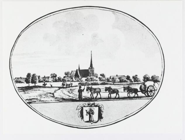 056047 - Tekening. Dorpsgezicht Gilze gezien vanaf de weg naar Rijen