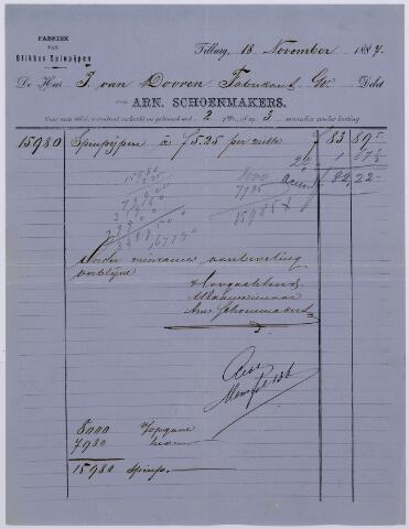 061039 - Briefhoofd. Nota van Arn Schoenmakers, fabriek van blikken spinpijpen voor de heer P. van Dooren te Tilburg
