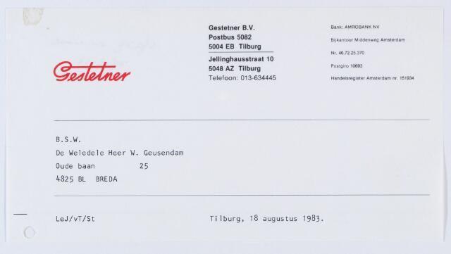 060145 - Briefhoofd. Briefhoofd van Gestetner B.V., Jellinghausstraat 10