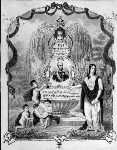 048573 - Litho. Prent met gedicht van J van Renesse ter nagedachtenis aan koning Willem II, overleden te Tilburg op 17 maart 1849. De prent is beladen met rouwsymboliek: de rouwsluier, een knekel, een zandloper, de zeis, een treurwilg. Aan weerszijden van het portret van Willem II een vaandel, dat herinnert aan de veldslagen, waarbij Willem II aanwezig was: de slag bij Waterloo en de slag bij Leuven (tijdens de Belgische opstand).