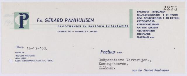 060877 - Briefhoofd. Nota van Fa. Gérard Panhuijsen, groothandel in paktouw en pakpapier, Heuvel 86 voor Coöp. Ververijen, Koningshoeven 77