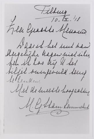 041988 - Gezondheidszorg. Brief van een vrouw  van halverwege september 1912 waarin zij meedeelt geen nut te zien in het invullen van een vragenformulier, waarschijnlijk ten behoeve van het onderzoek van dr. Piters naar kindersterfte.