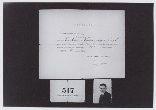 053669 - Brief.Oproep dienstplicht door gemeente Tilburg van Hubert Jacques Joseph Teurlings,  lichting 1929 nummer 434