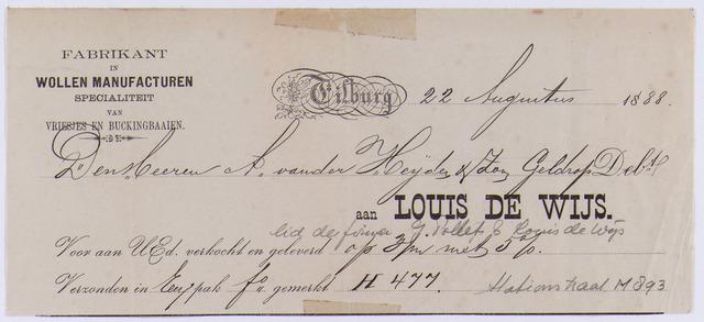 061447 - Briefhoofd. Nota van Louis de Wijs, fabrikant in wollen manufacturen voor A. van der Heijden & Zoon te Geldrop