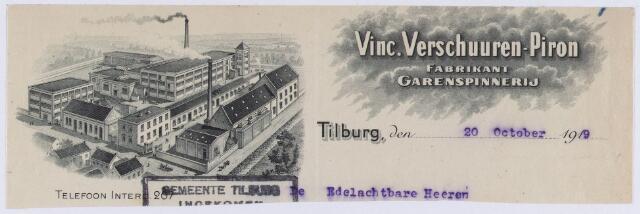 061329 - Briefhoofd. Briefhoofd van Vinc. Verschuuren=Piron, fabrikant garenspinnerij, Koningshoeve 64