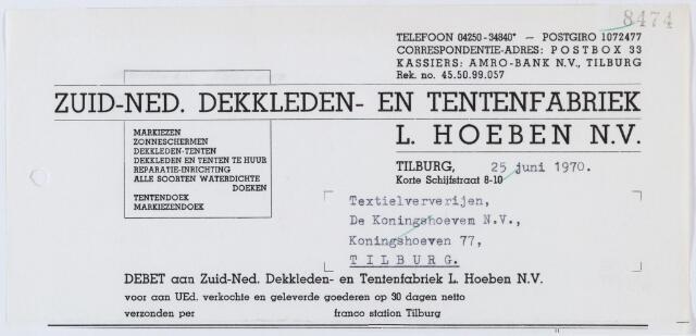 """060294 - Briefhoofd. Nota van Zuid-Ned.Dekkleden- en Tentenfabriek L. Hoeben N.V., Korte Schijf 8-10 voor Textielververijen """"De Koningshoeven"""", Koningshoeven 77"""