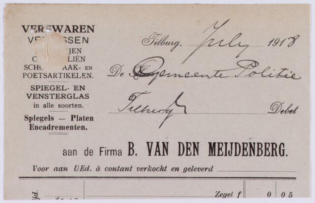 060742 - Briefhoofd. Nota van B. van den Meijdenberg, handelaar in venster- en spiegelglas, verfwaren en alle schilders gerief voor de gemeente Politie van Tilburg