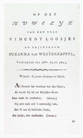 """008457 - Kaart.  De dichter van dit huwelijkslied, op de wijze van """"O groote Koopman in Tabak"""", was Adriaan van der WILLIGEN (1766-1841). Zie ook fotonr. 8442. De bruidigom, Vincent Loosjes (Haarlem 1786-1841), was evenals zijn vader Adriaan Loosjes boekhandelaar en uitgever in Haarlem."""