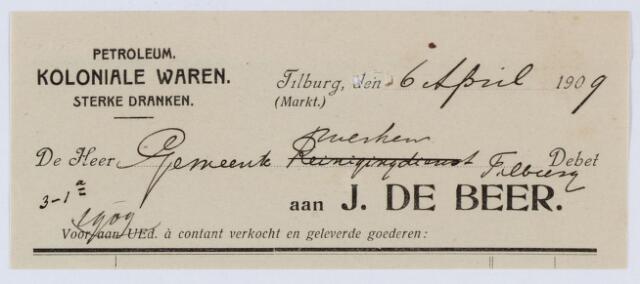 059545 - Briefhoofd. Briefhoofd van J de Beer, Petroleum, Koloniale waren, Sterke dranken,
