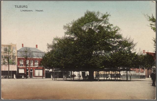 010191 - Westzijde van de Heuvel met lindeboom en kiosk.