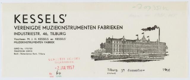 060453 - Briefhoofd. Briefhoofd van Kessels' Vereenigde Muziek-instrumenten Fabrieken, Industratiestraat 46, voorheen M.J.H. Kessels en Kessels' muziekinstrumeneten fabriek