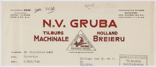 060217 - Briefhoofd.  Nota van N.V. Gruba , machinale breierij,  voor Gemeente Tilburg