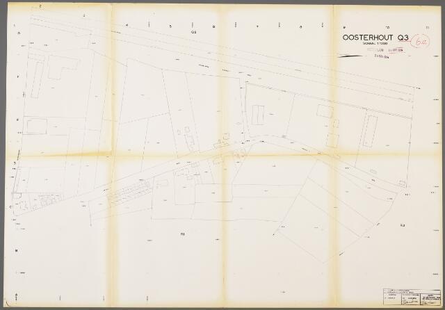 104957 - Kadasterkaart. Kadasterkaart / Netplan Oosterhout. Sectie Q3. Schaal 1: 1000.