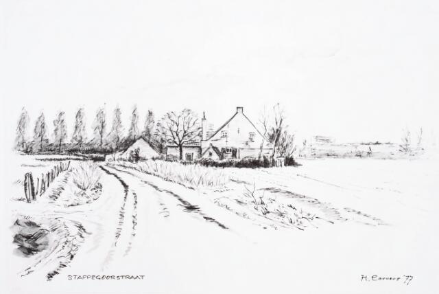 032738 - Tekening. Tekening van H. Corvers van een boerderij aan de Nieuwe Goirleseweg thans Stappegoorweg