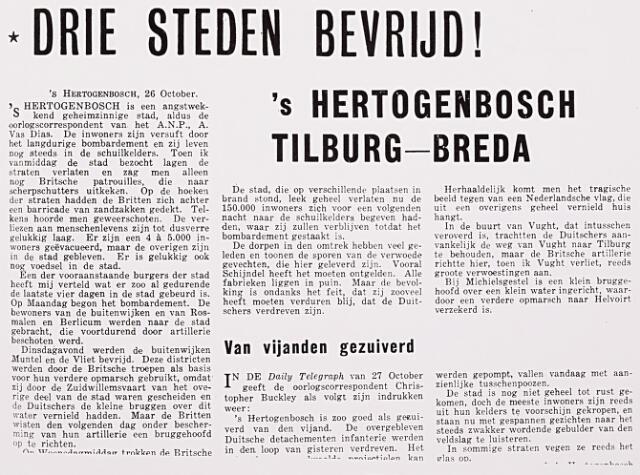 012972 - Tweede Wereldoorlog. De in Londen gedrukte krant Vrij Nederland doet in haar editie van 4 november 1944 vrij gedetailleerd verslag van de bevrijding van 's-Hertogenbosch, Tilburg en Breda