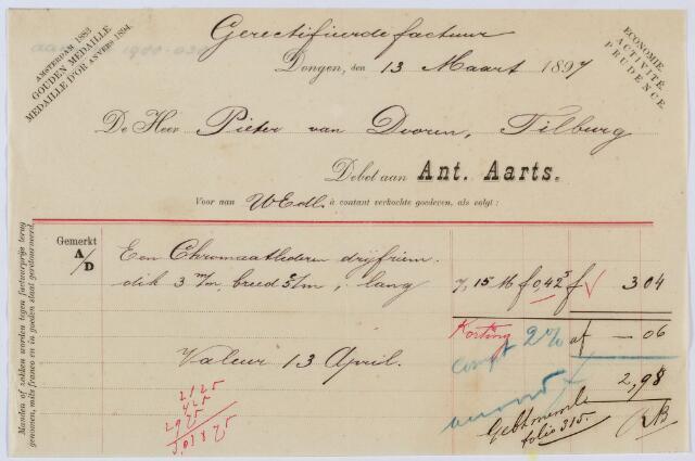 059464 - Briefhoofd. Rekening van Ant. Aarts uit Dongen voor Pieter van Dooren voor het leveren van een drijfriem.