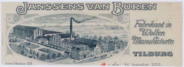 060383 - Briefhoofd. Briefhoofd van Janssens van Buren, Fabrikant in wollen manufacturen, Gasthuisstraat 29