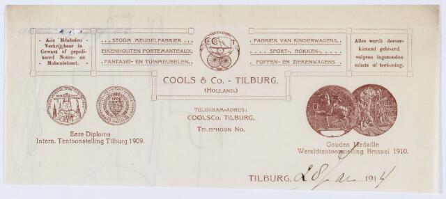 059865 - Briefhoofd. Briefhoofd van Cools & Co - Tilburg