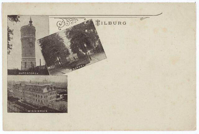 003099 - Links onder elkaar de watertoren en het missiehuis aan de Bredaseweg, rechts het Korvelplein met de voormalige parochiekerk van Korvel.