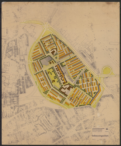 652554 - Reconstructie binnenstad. Studieplan Hoefstraat. Bebouwingsschets. [Diamantkruising]