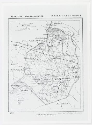 056042 - Kaart. Kaart gemeente Gilze en Rijen, 1869. Schaal 1 : 75.000.
